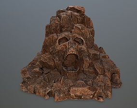 3D asset game-ready skull gate rocks