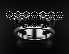 Ring with diamonds or black onyx for 3D printable model 1
