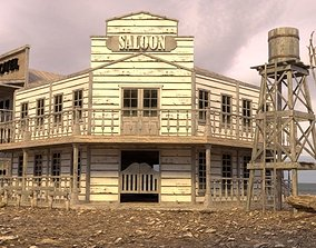 WESTERN SALOON WITH EMPTY INTERIOR 3D model