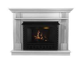 Ashley White Wood Grain Fireplace Surround at 3D model