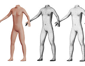 3D model Character 21 High and Low-poly - Body male
