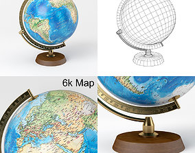 Earth Globe with Wooden Stand and Brass 3D model 3