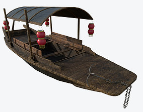 3D asset Chinese Boat Low-poly PBR