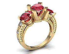 Golden Ring with Rubies BK411 3D print model