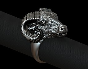 Aries biker ring with horns 3D print model