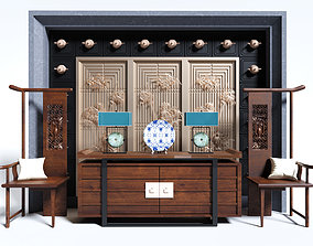 traditional Chinese sideboard chair complete set 3D model