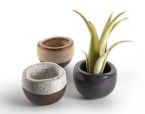 3D model Brown Matte Mini Mini Planter Set