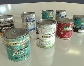 Old Paint Cans 3D asset