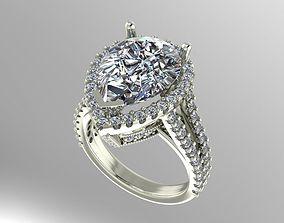 3D print model Pear shape halo ring