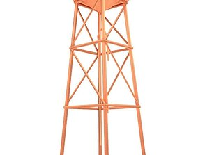 3D model Water Tower LOW POLY