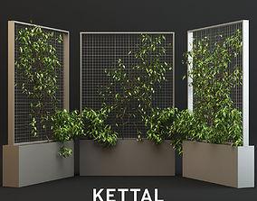Kettal Pavilions XL Planter With Plants 3D asset