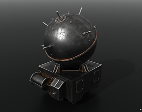 3D model game-ready Naval mine