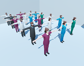 Low poly hospital people with randomisation 3D asset