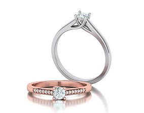 3D print model Engagement Solitaire ring 4prong Own