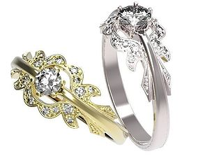 Gold ring with a diamond wedding 3D print model