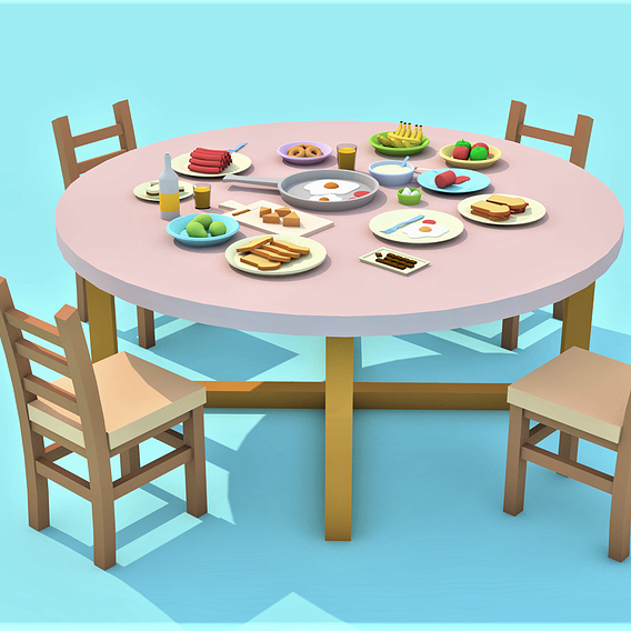 dining-table full of food - low-poly cartoon table