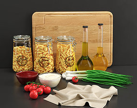Pasta Dry Set olive 3D
