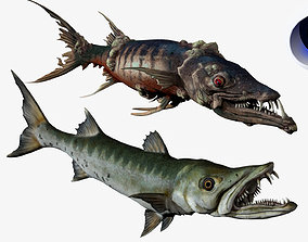 animated Big Barracuda Fish Rigged Animated 3D model