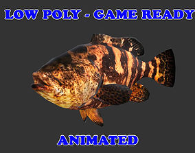 Low poly Goliath Grouper Fish Animated - Game 3D model