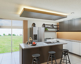 apartment Modern Kitchen Scene 3D