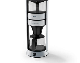3D model Tall Silver Coffee Maker
