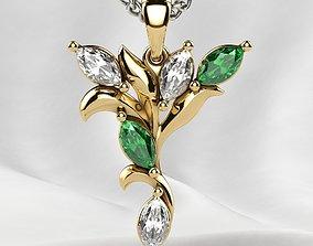 Five Marquises Gold Pendant 3D printable model necklace