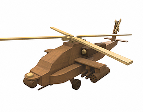 3D Wooden airplane toy helicopter