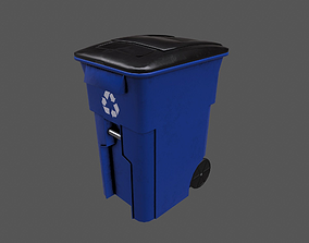 wheeled trash bin 3D asset
