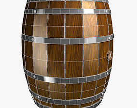 3D model game-ready Wine Barrel