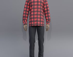Male outfit - checkered button up shirt and jeans 3D