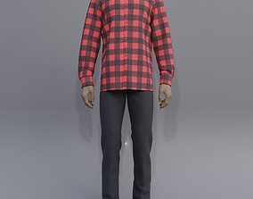 3D Male checkered button up shirt and jeans