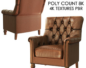 3D asset low poly leather armchair