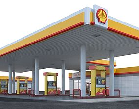 Gas station Shell 3D model