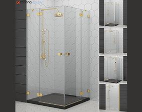Cabin showers Radaway Essenza gold 3D model