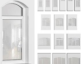 3D Set of plastic arched windows