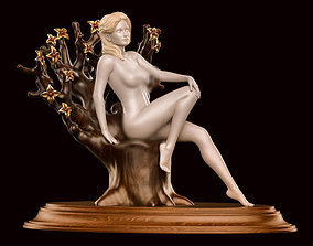 Girl nude sitting 01 3D print model design