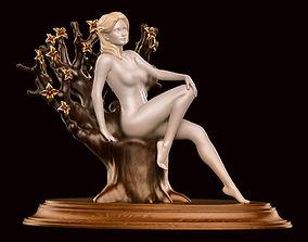 Girl nude sitting 01 3D print model design