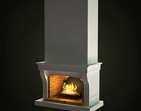White Retro Fireplace 3D model