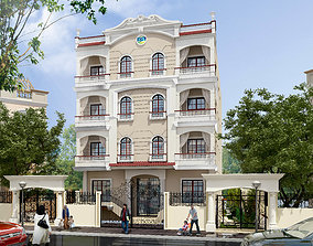 classic residential building and its plans 3D