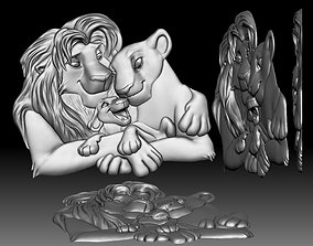 3D printable model Cartoon lions family bas-relief for 3