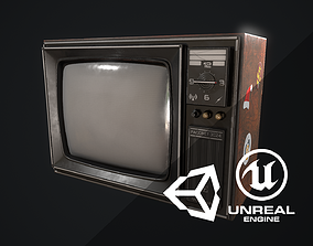 Old TV gameready 3D model