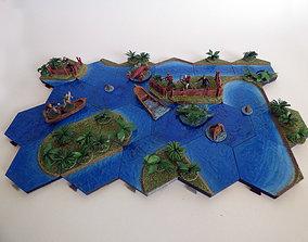 3D printable model Hexagonille Terrain - Large water