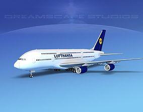 3D Airbus A380-800 Lufthansa