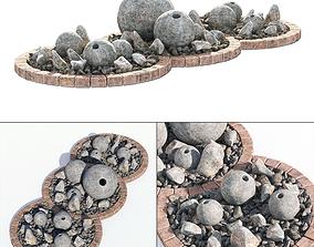 3D model Flowerbed sphere stone decor