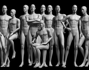 Animated Male Base Mesh - 12 poses 3D asset
