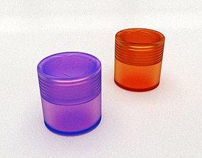 Round box with threaded lid Biohazard 26 x 3D print model