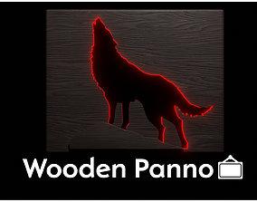 Wolf wooden panno 3D asset