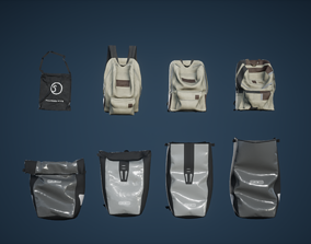Back Pack Set Low Poly Game Ready 3D asset