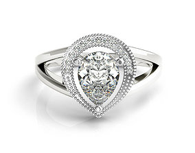 ring cad pear shaped engagement ring diamond jewelry 1