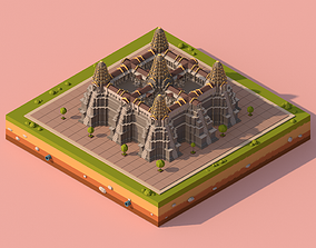 3D model Cartoon Low Poly Ankor Wat Temple